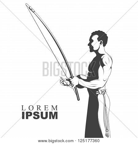 Black and white silhouette capoeira dance playing on instrument berimbau. Vector