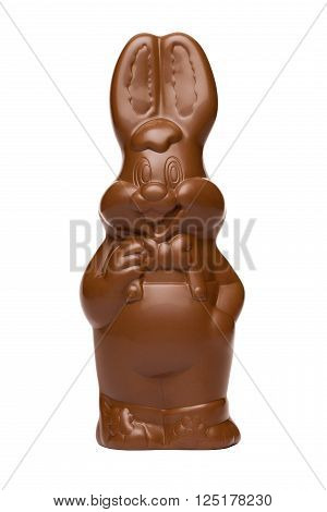 Funny Easter chocolate bunny rabbit isolated on white and with clipping path