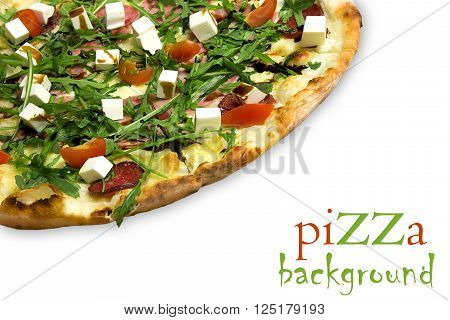Appetizing pizza with ham, salami, arugula, cherry tomatoes, fetaksa, balsamic isolated on white