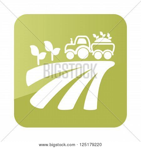 Tractor on field harvest seedling icon outline. Field. Farm. Vector illustration eps 10