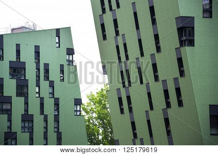 Modern Residential Apartments Living House Exterior Near Gasometers Of Vienna, Austria