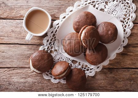 Whoopie Pie Dessert And Coffee On The Table. Horizontal Top View