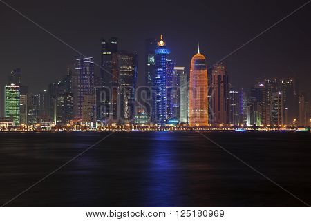 Beautiful and colorful Doha skyline at night. Qatar