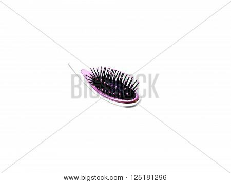 Silver with pink coloured hairbrush isolated on white ** Note: Shallow depth of field