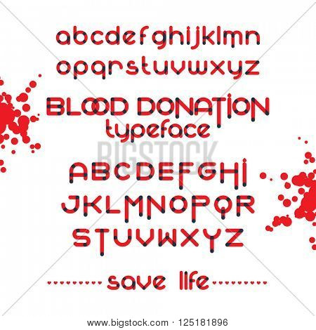 Round font set. Blood donation typeset. Save life. Vector red alphabet