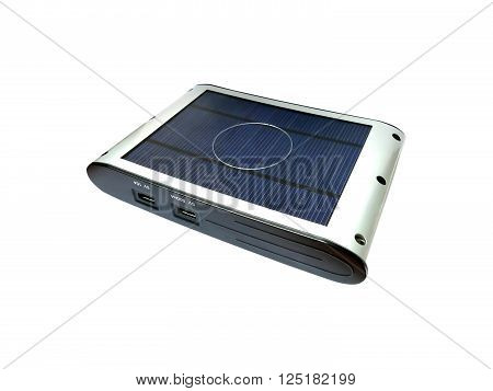 Solar powered external battery charger isolated on white ** Note: Shallow depth of field