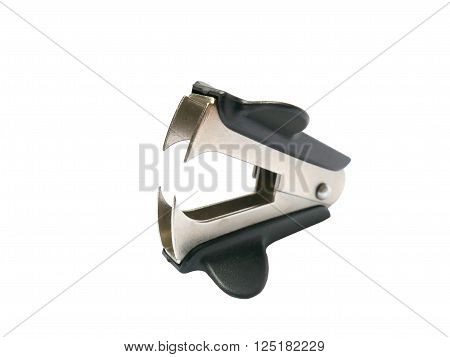 Metal staple remover with black plastic isolated on white