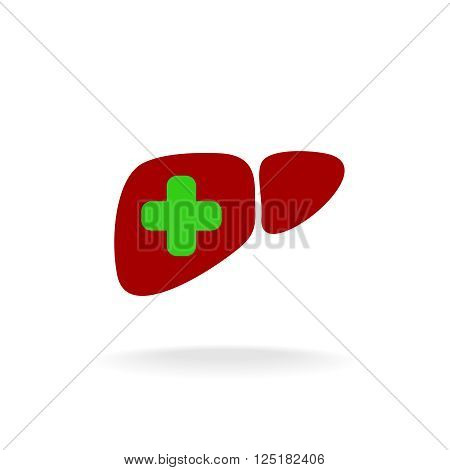 Liver With A Medical Cross Logo. Green And Red Colors.