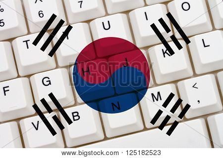 Restricted Internet access in South Korea The South Korean flag on a computer keyboard