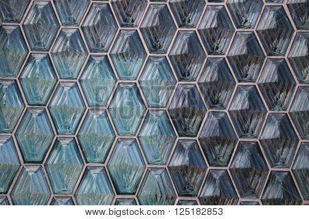 Transparent glass lozenges of a building