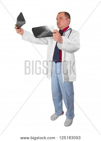 Rentgenolog- man in his office on a white background
