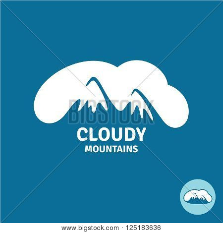 High Mountain Peaks In A Cloud Sky Logo Template