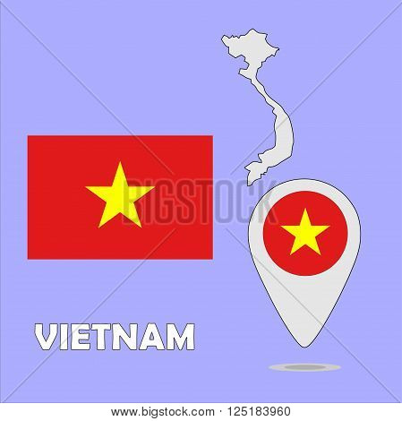 A pointer map and flag of Vietnam