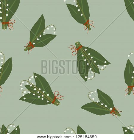 Seamless pattern, bouquets of spring lilies of the valley with leaves on a blue-green background, vector illustration