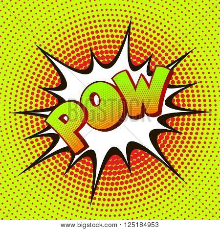 Pow wording sound effect set design on a background of halftone. Vector illustration