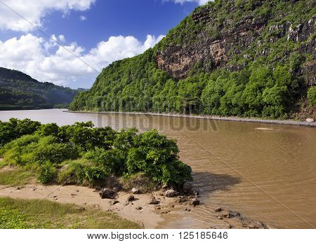 hills and river. Mauritius. in a sunny day