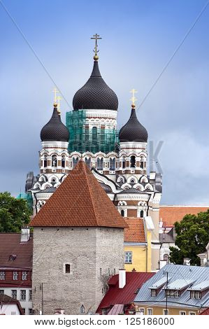 Alexander Nevsky Cathedral. Old city Tallinn Estonia