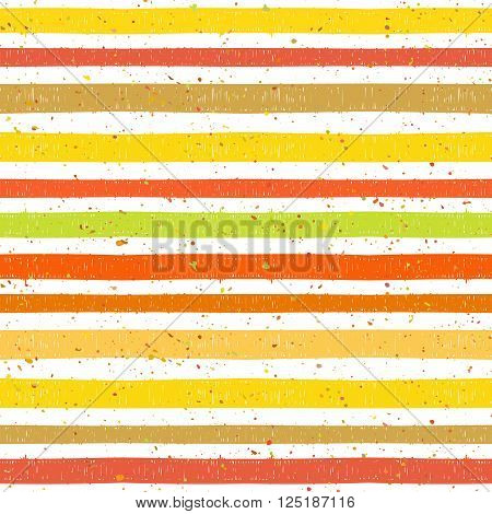 Hand drawn striped colorful seamless pattern with motley splatter. Grunge style pattern for background, textile, paper packaging and other design. Vector illustration.