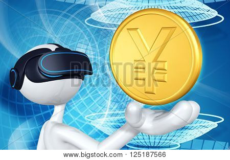 Virtual Reality VR Money 3D Illustration