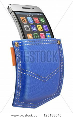 Flexible mobile with abstract icon set in blue jeans back pocket - 3D illustration