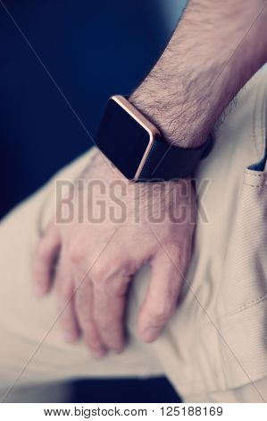 Man With A Smart Wrist Watch On Hand