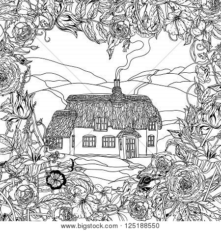 flowers frame in heart shape and victorian house. for adult coloring book in zenart style. Hand-drawn, retro, doodle, vector, uncoloured. The best for your textiles, posters, coloring book in vector.