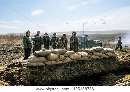April 03 2016. Saint-Petersburg.Group photo Wehrmacht soldiers on military-Patriotic festival