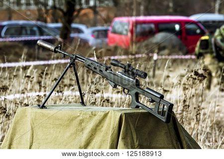 April 03 2016. Saint-Petersburg.Sniper rifle on the military-Patriotic festival
