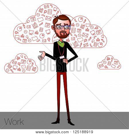 Speech presentation of business product, project, speech at conference. Handsome man wit balloon isolated of website. Storytelling in vector balloon. Vector isolated illustration guy with balloon