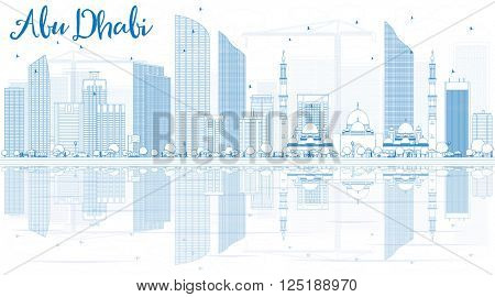 Outline Abu Dhabi City Skyline with Blue Buildings and Reflections. Business Travel and Tourism Concept with Modern Buildings.  Image for Presentation, Banner, Placard and Web.