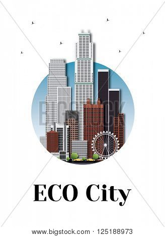 Eco city architecture skyline logo design. Logotype for your company isolated on white background.