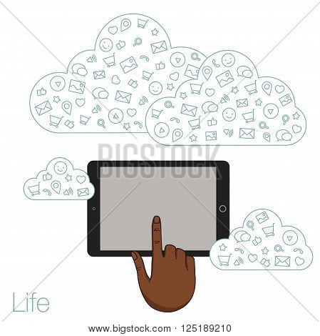 Icons set in flat style on background. Illustration of cloud technology and services. Hand with a tablet. Social media and networking in devices. Demonstration screen tablet for presentation app