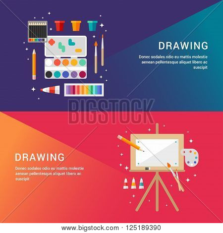 Drawing Concept. Set of Flat Style Vector Illustrations for Web Banners or Promotional Materials. Paint with Colour Pencils and Pastels. Wooden Easel with Canvas