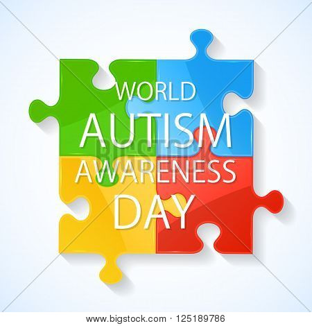 Colorful puzzle elements in autism awareness day, illustration.