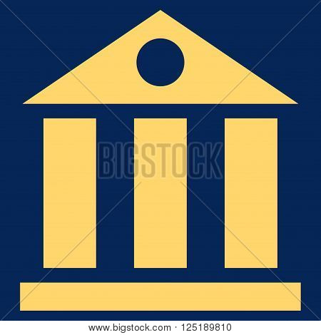 Bank Building vector icon. Bank Building icon symbol. Bank Building icon image. Bank Building icon picture. Bank Building pictogram. Flat yellow bank building icon.