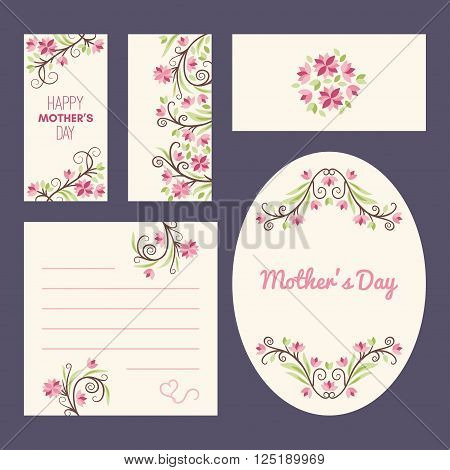 Happy Mothers Day. Greeting Cards With Flowers. Stationery Set. Vector Illustration