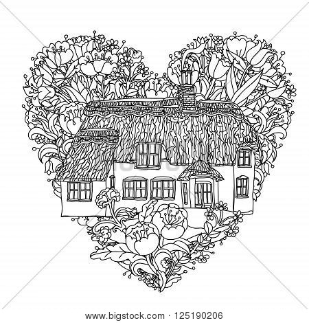 black and white flowers in heart shape and victorian house. for adult coloring book, zenart style. Hand-drawn, retro, doodle, vector, uncoloured. The best for textiles, cards, coloring book in vector.
