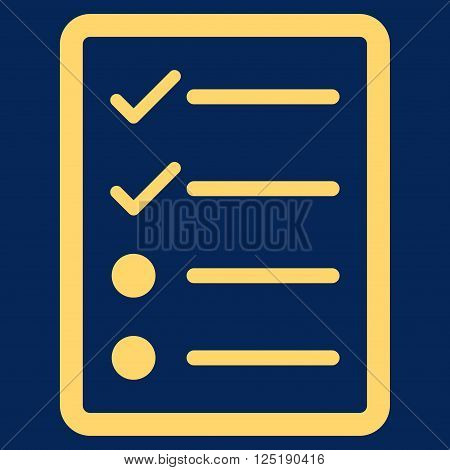 Checklist Page vector icon. Checklist Page icon symbol. Checklist Page icon image. Checklist Page icon picture. Checklist Page pictogram. Flat yellow checklist page icon.