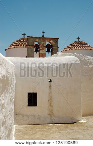 Traditional Orthodox Greek church at Patmos Island in Greece