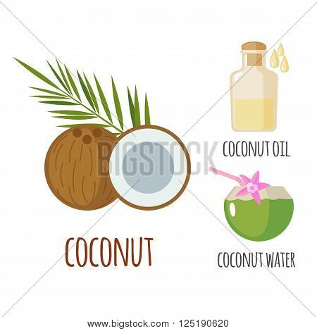 Superfood coconut set in flat style: coconut fruit , water, milk. Organic healthy food. Isolated objects on white background. Vector illustration