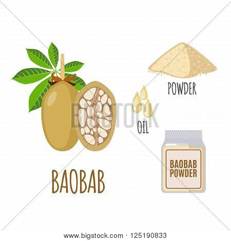 Superfood baobab set in flat style: baobab fruit, powder, oil. Organic healthy food. Isolated objects on white background. Vector illustration