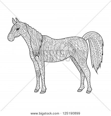 Horse animal coloring book for adults vector illustration. Anti-stress coloring for adult. Zentangle style. Black and white lines. Lace pattern