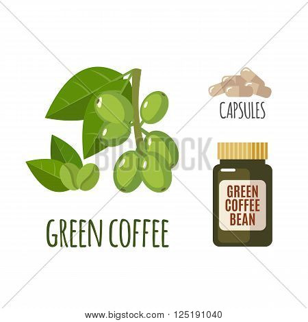 Superfood green coffee set in flat style: coffee beans, capsules. Organic healthy food. Isolated objects on white background. Vector illustration