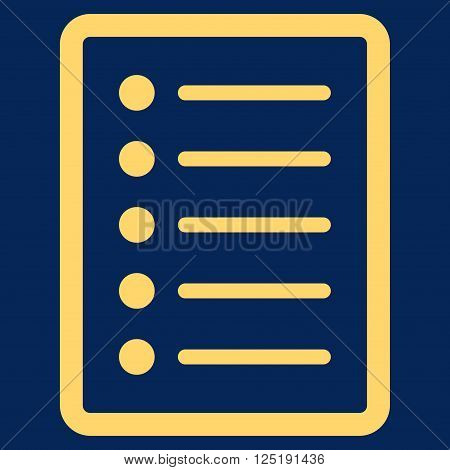 List Page vector icon. List Page icon symbol. List Page icon image. List Page icon picture. List Page pictogram. Flat yellow list page icon. Isolated list page icon graphic.