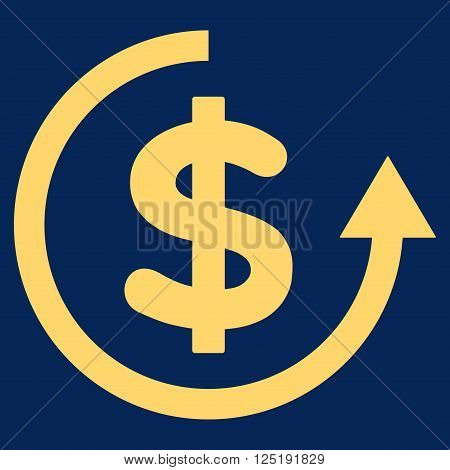 Refund vector icon. Refund icon symbol. Refund icon image. Refund icon picture. Refund pictogram. Flat yellow refund icon. Isolated refund icon graphic. Refund icon illustration.