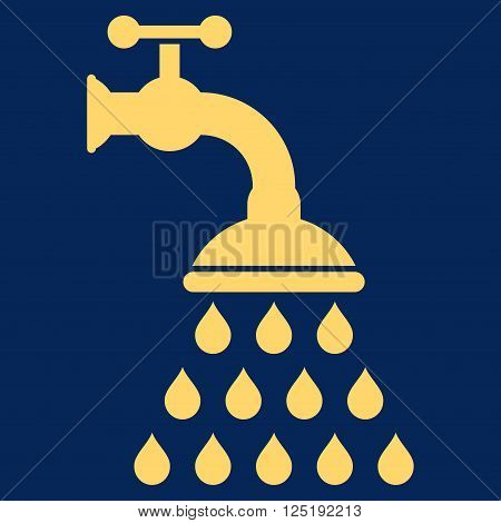 Shower Tap vector icon. Shower Tap icon symbol. Shower Tap icon image. Shower Tap icon picture. Shower Tap pictogram. Flat yellow shower tap icon. Isolated shower tap icon graphic.