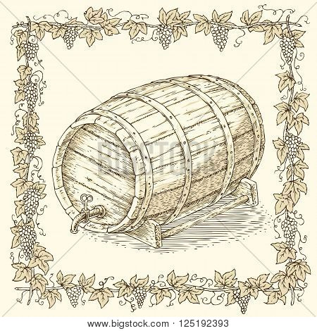 Wooden Oak Barrel with an Iron Rims in Floral Frame on a Beige Background