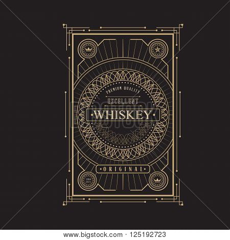 antique frame vintage border whiskey label retro  vector illustration