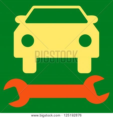 Car Repair vector icon. Car Repair icon symbol. Car Repair icon image. Car Repair icon picture. Car Repair pictogram. Flat orange and yellow car repair icon. Isolated car repair icon graphic.