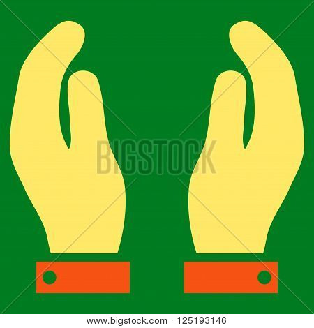 Care Hands vector icon. Care Hands icon symbol. Care Hands icon image. Care Hands icon picture. Care Hands pictogram. Flat orange and yellow care hands icon. Isolated care hands icon graphic.